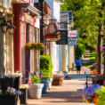 downtown sidewalk among little shops